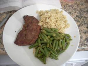 Savory Baked Rice with steak and green beans with mustard vinaigrette